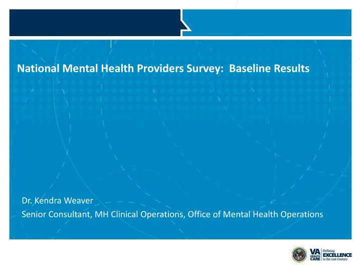 National mental health providers survey baseline results