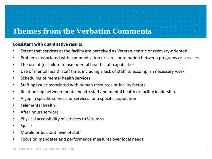 Themes from the Verbatim Comments