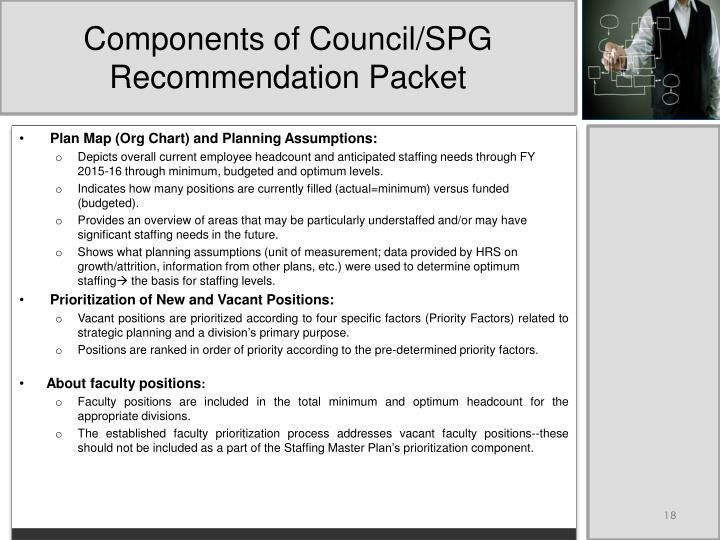 Components of Council/SPG Recommendation Packet