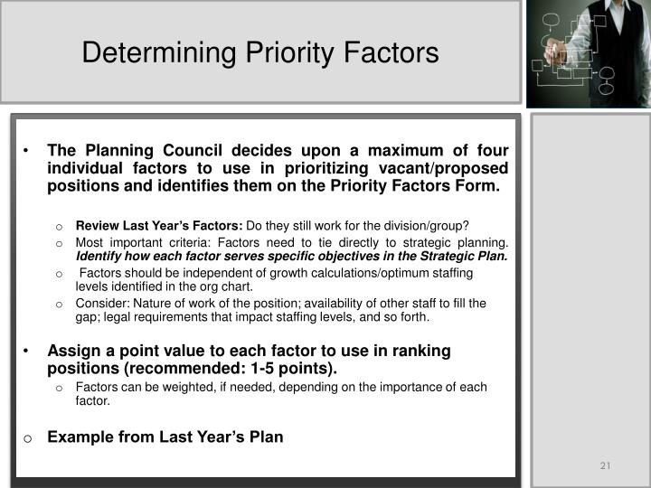 Determining Priority Factors