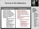 format of the addendum