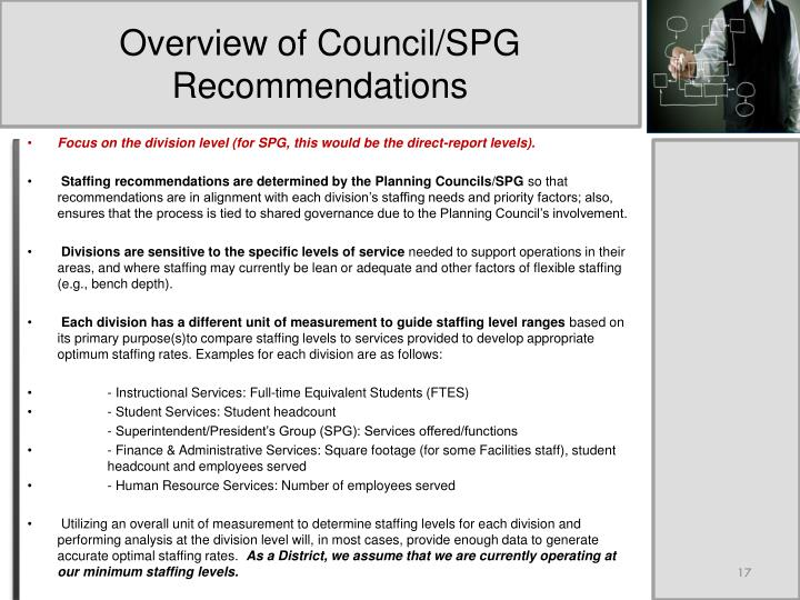 Overview of Council/SPG Recommendations