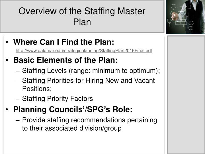 Overview of the staffing master plan