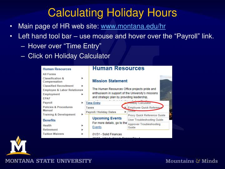 Calculating Holiday Hours