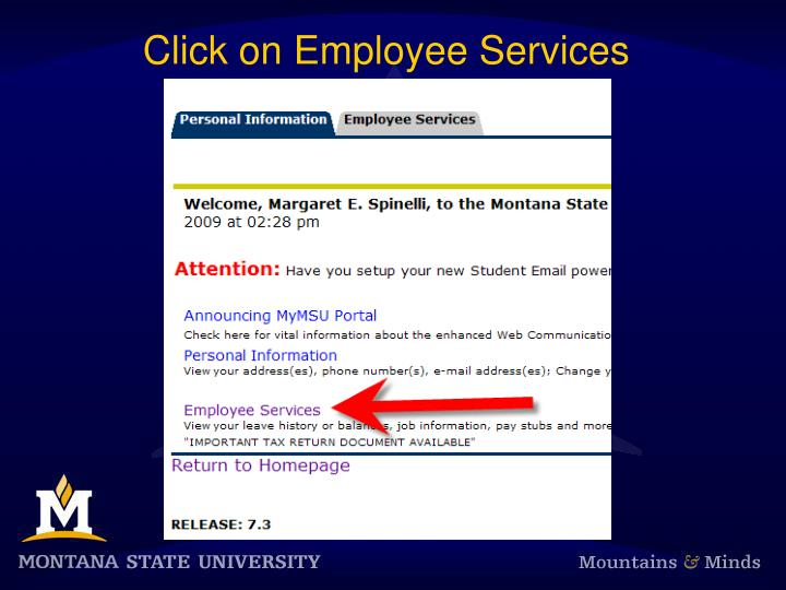Click on Employee Services
