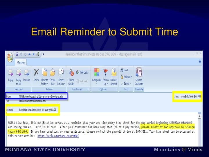 Email Reminder to Submit Time