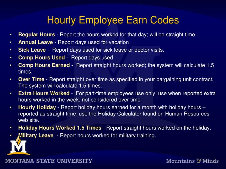 Hourly Employee Earn Codes