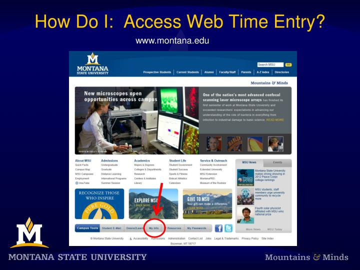 How Do I:  Access Web Time Entry?