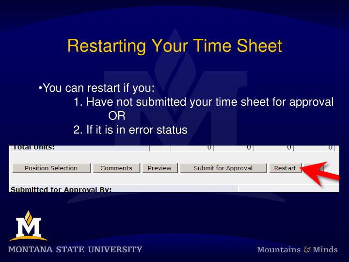 Restarting Your Time Sheet