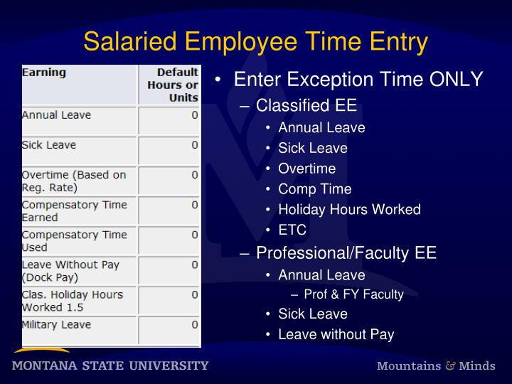Salaried Employee Time Entry