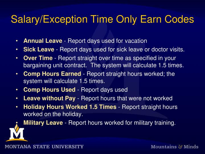 Salary/Exception Time Only Earn Codes