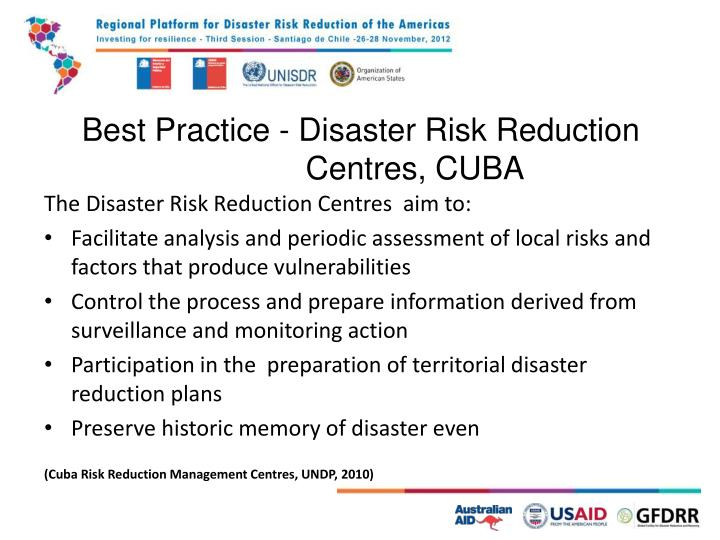 Best Practice - Disaster Risk Reduction