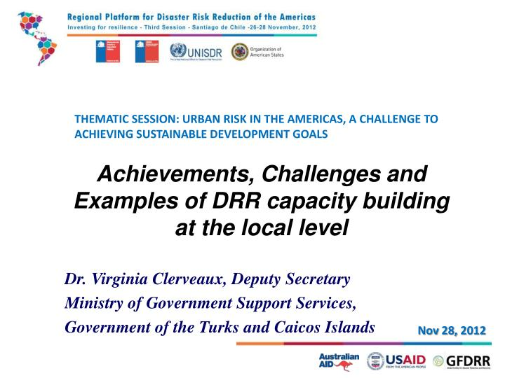 Thematic session urban risk in the americas a challenge to achieving sustainable development goals