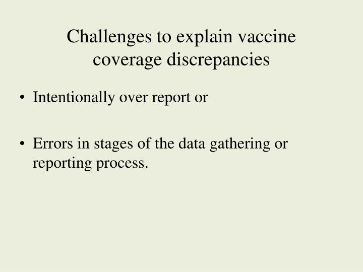 Challenges to explain vaccine coverage discrepancies