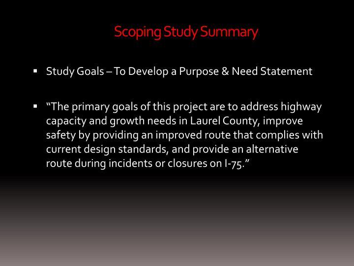 Scoping Study Summary