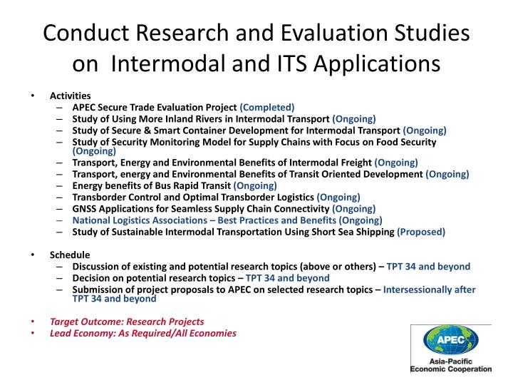 Conduct Research and Evaluation Studies on  Intermodal and