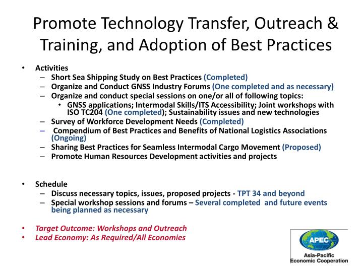 Promote Technology Transfer, Outreach & Training, and Adoption of Best Practices