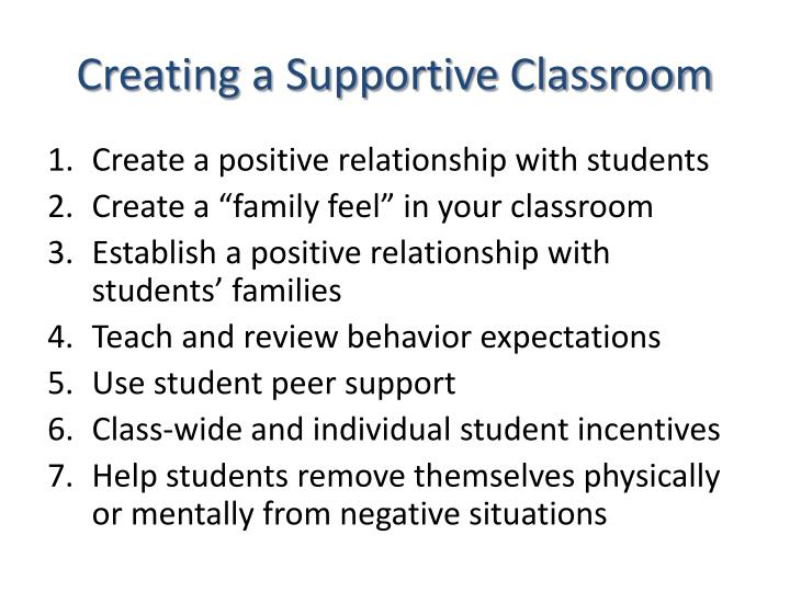 Creating a Supportive Classroom