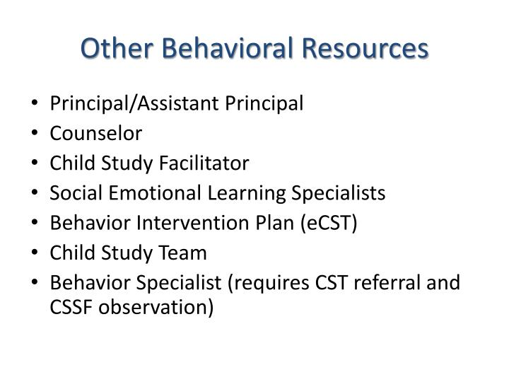 Other Behavioral Resources