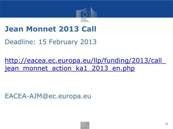 Jean Monnet 2013 Call