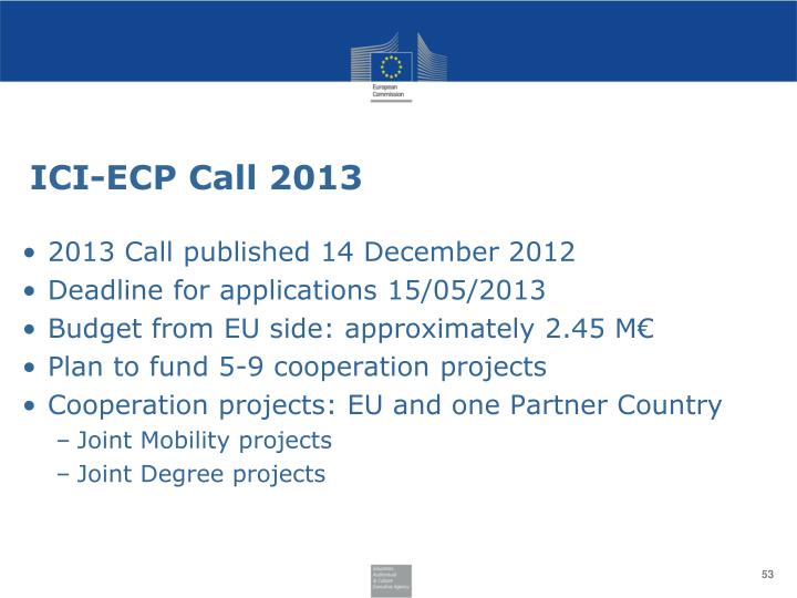 ICI-ECP Call 2013
