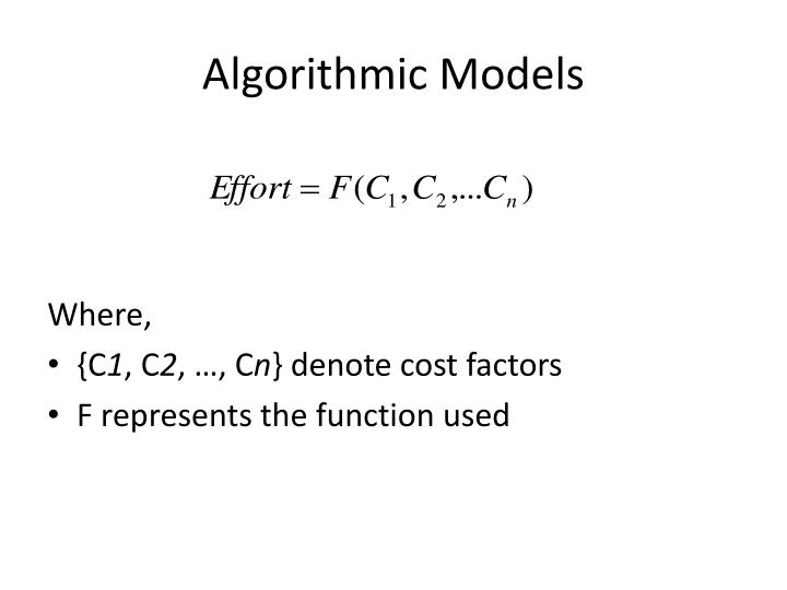 Algorithmic Models