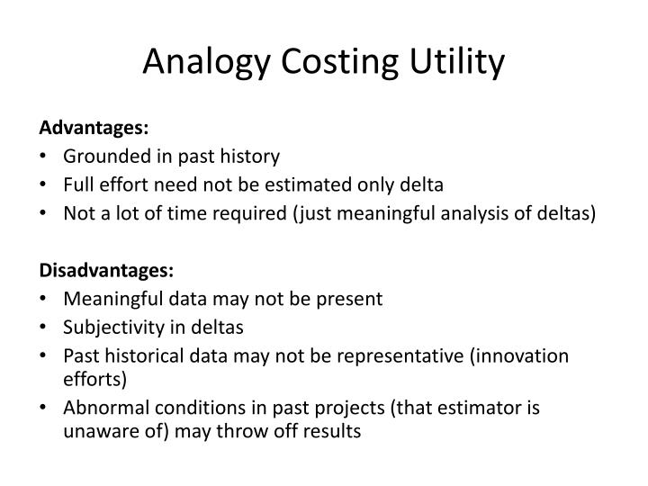 Analogy Costing Utility