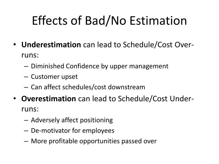 Effects of bad no estimation