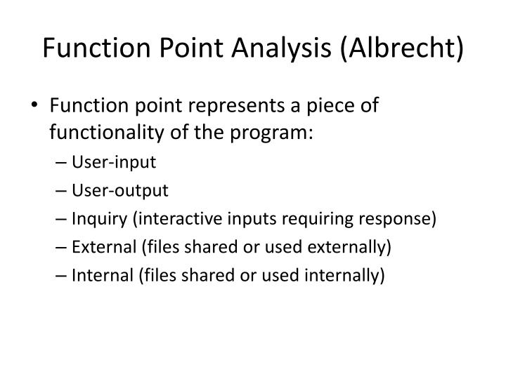 Function Point Analysis (Albrecht)