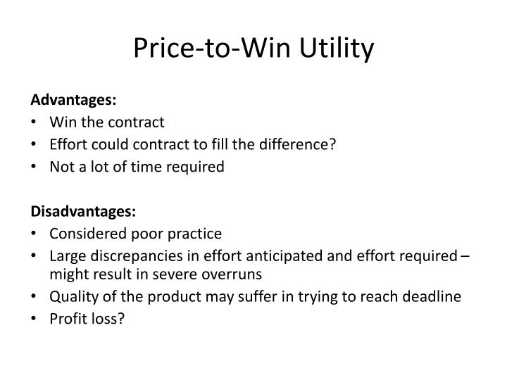 Price-to-Win Utility