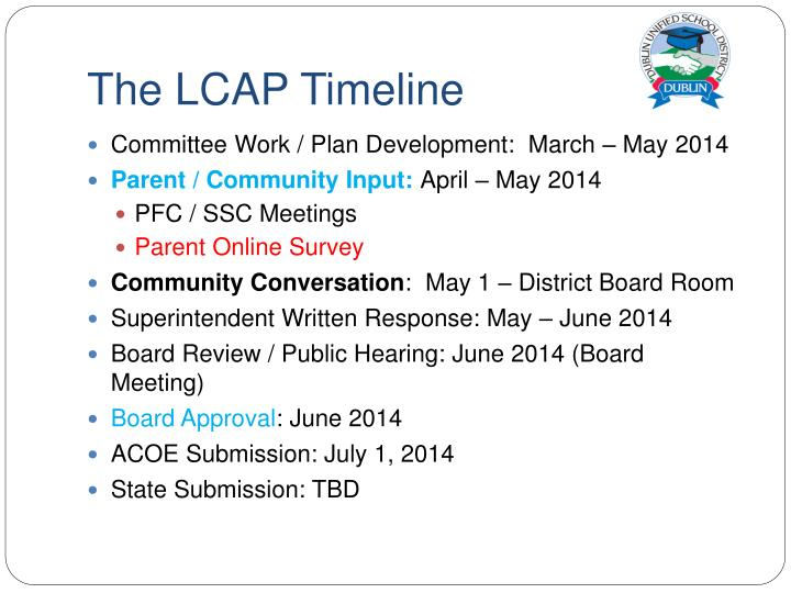 The LCAP Timeline