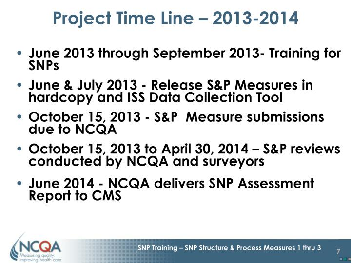 Project Time Line – 2013-2014