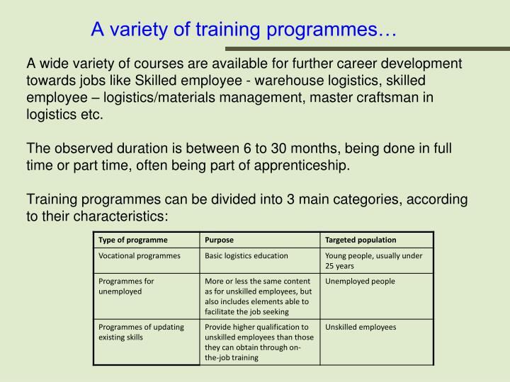 A variety of training programmes…