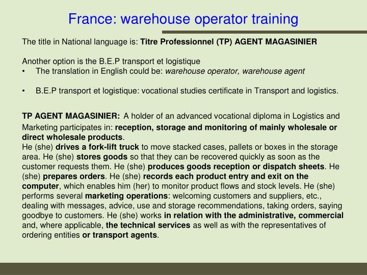 France: warehouse operator training