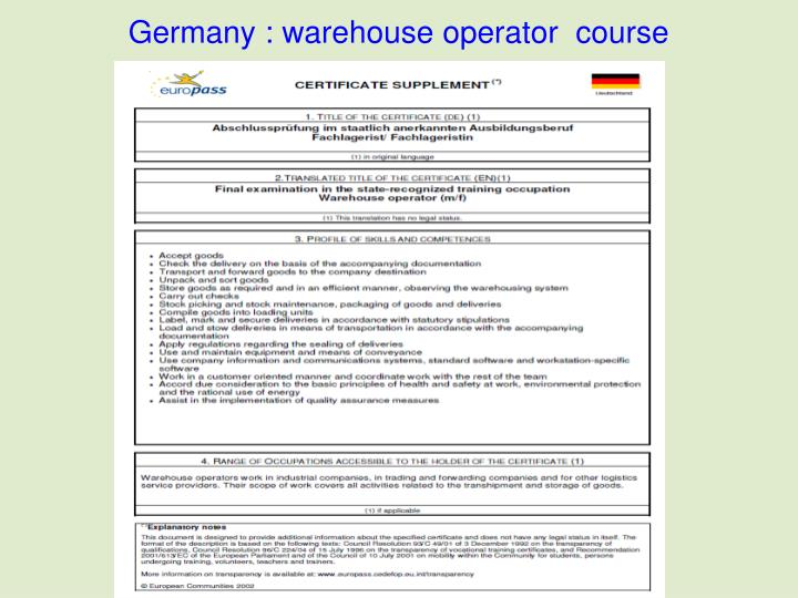Germany : warehouse operator  course