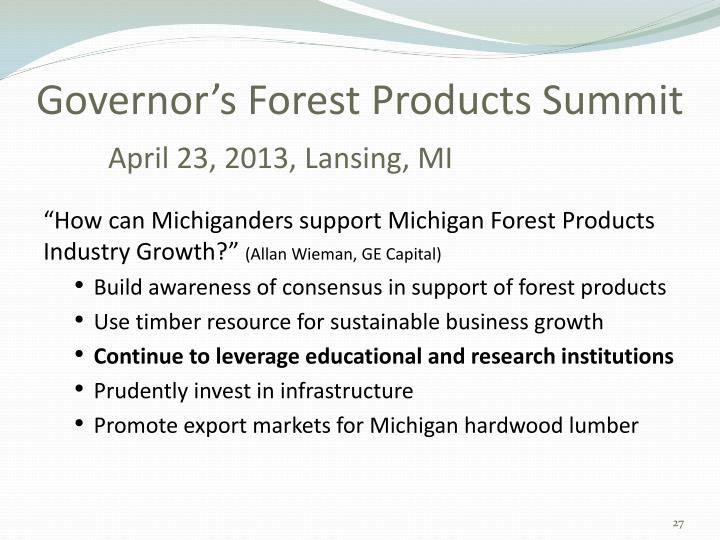 Governor's Forest Products Summit
