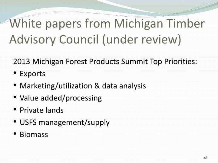 White papers from Michigan Timber Advisory Council (under review