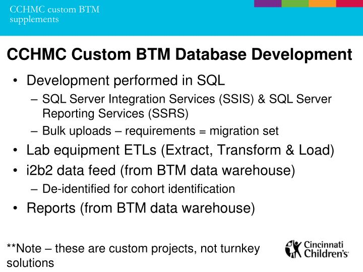 CCHMC custom BTM supplements