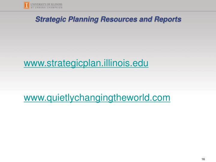 Strategic Planning Resources and Reports