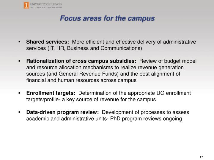 Focus areas for the campus