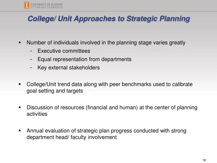 College/ Unit Approaches to Strategic Planning
