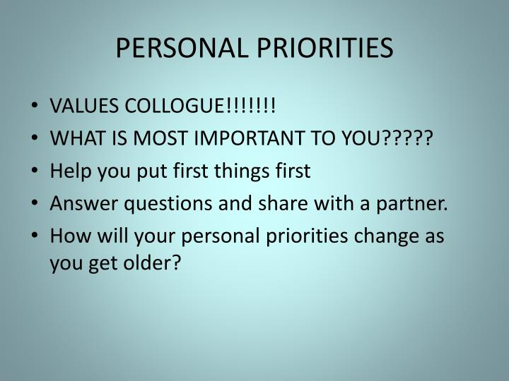PERSONAL PRIORITIES