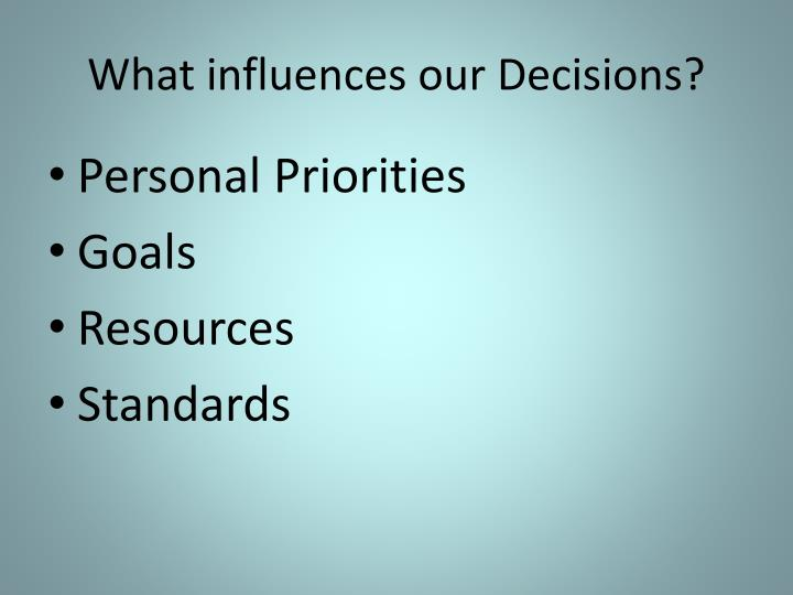What influences our Decisions?