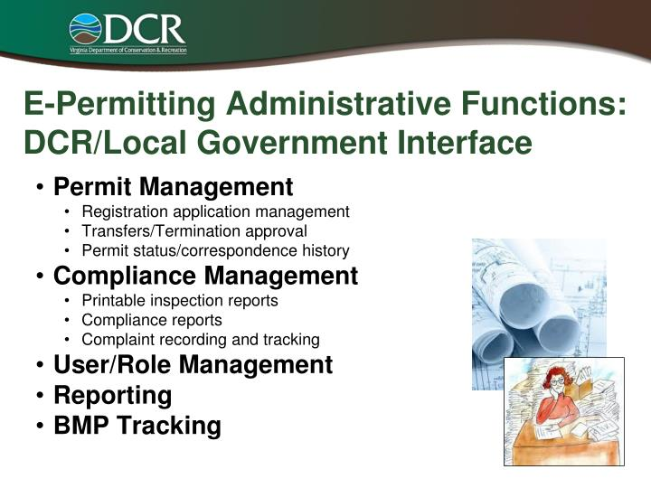 E-Permitting Administrative Functions: