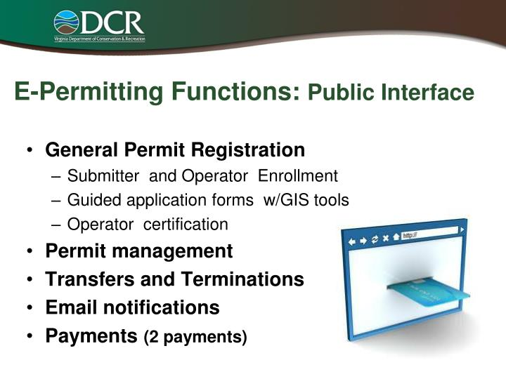 E-Permitting Functions: