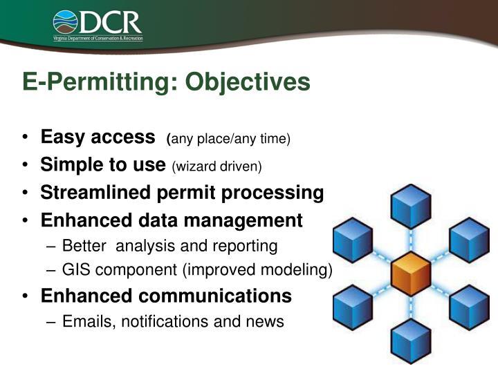 E-Permitting: Objectives