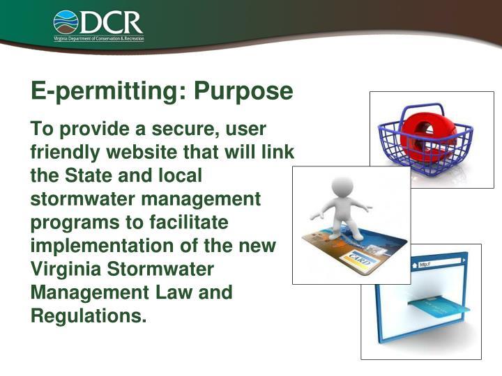 E-permitting: Purpose