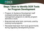steps taken to identify dcr tools for program development