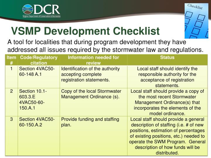 VSMP Development Checklist