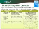 vsmp development checklist